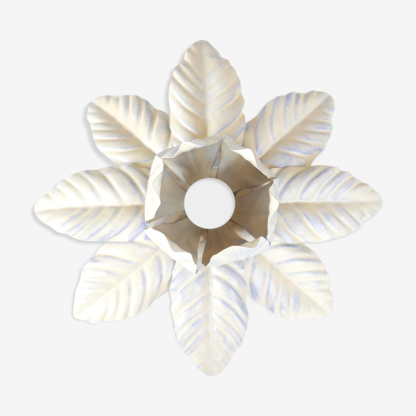 Applique fleur en métal beige, années 70