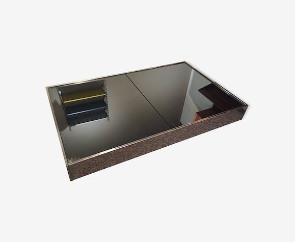 Table Basse Miroir Avec Bar 70 Verre Et Cristal Noir Design