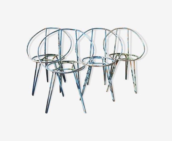 Ensemble de 4 chaises de jardin en métal bleu des années 1950