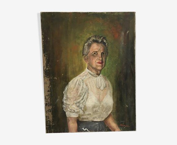 Portrait à l huile  sur toile XIX ième