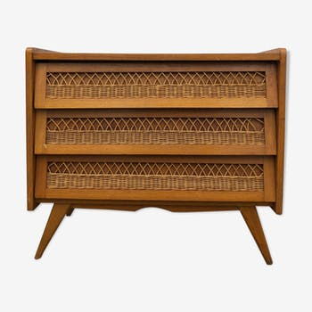Wooden and vintage rattan