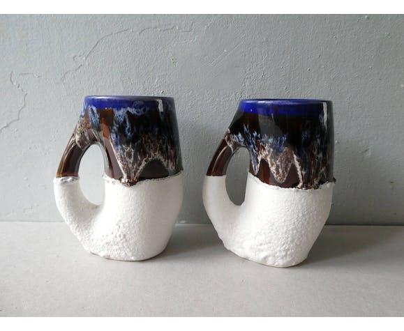 Paire de vases en céramique Vallauris des années 60