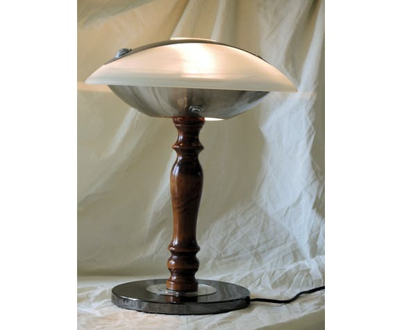 Glass dome lamp metal silver