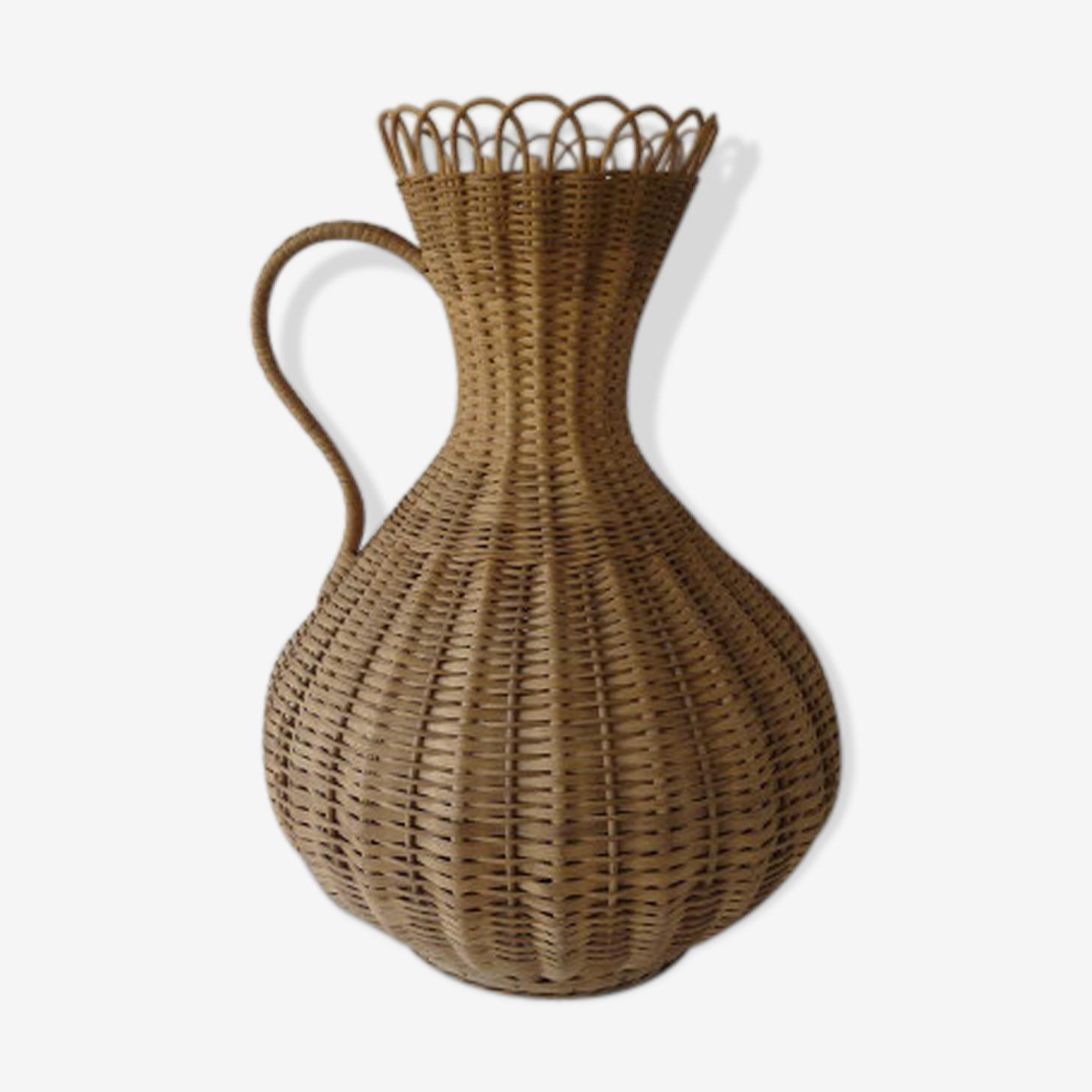 Vase en rotin des années 70