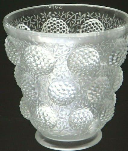 """Vase verre """"les cabochons"""" verlys glass art déco 1930"""