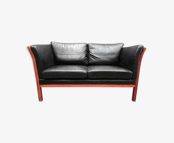 pas cher pour réduction ecd45 d7c3c Canapé cuir noir 2 places design scandinave