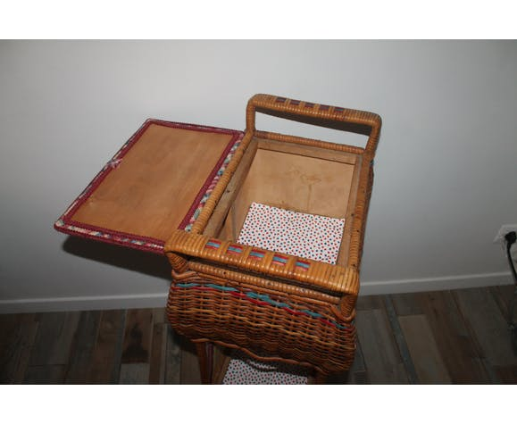 Furniture vintage 70 sewing basket in rattan and wicker