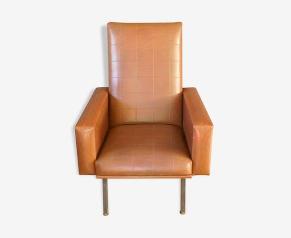 fauteuil vintage en ska marron ann es 50 60 ska vintage 76463. Black Bedroom Furniture Sets. Home Design Ideas