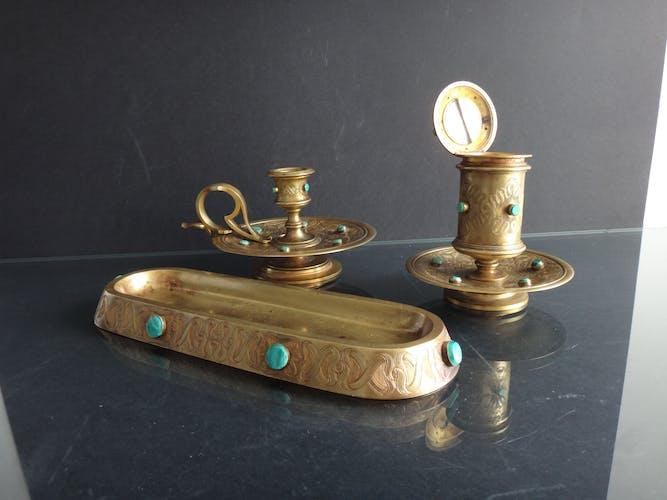 Accessoires de bureau Art nouveau bronze malachite bougeoir encrier XIXe