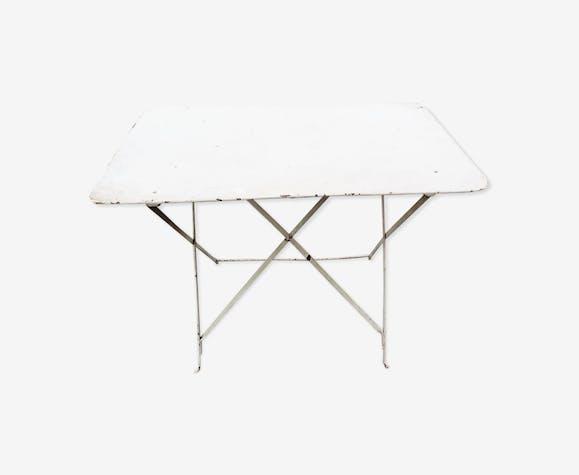 Table de jardin en fer - fer - blanc - vintage - A0jyW7h
