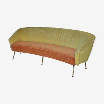 Arc design Curved sofa sofa Italian years 50-60 bi color yellow red