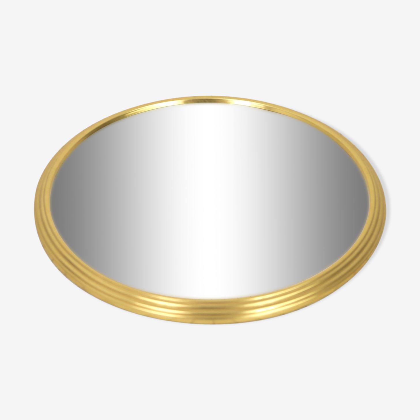 Plateau miroir rond doré