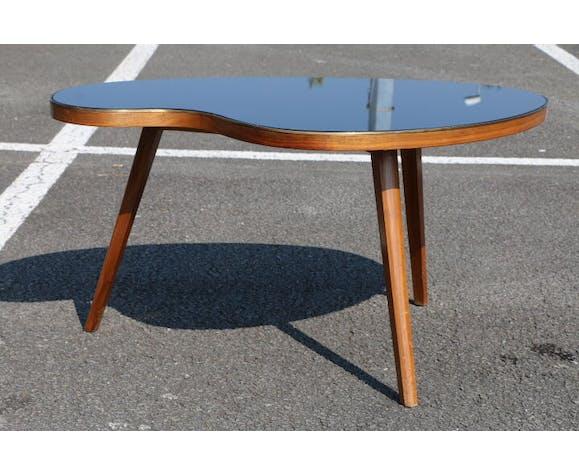Table Basse Haricot Plateau Verre Noir Selency