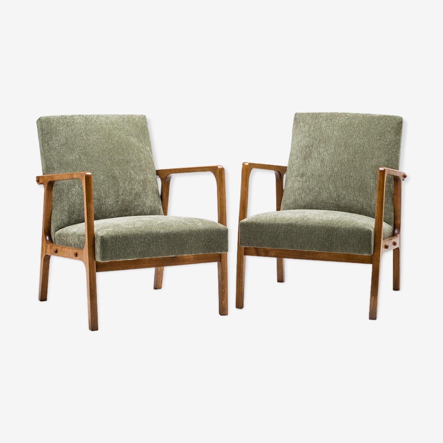 Ensemble de 2 fauteuils type 68, années 60.