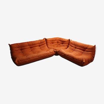 Canapé modulaire orange 3 pièces par Michel Ducaroy pour Ligne Roset