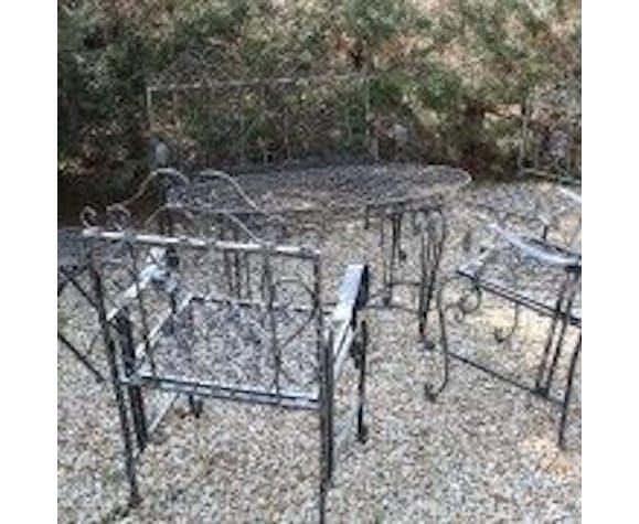 Salon de jardin pliable en fer forgé noir vernis patiné ...