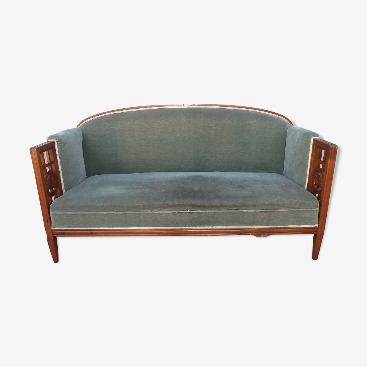 André GROULT (1884-1966) bench sofa in Cherry carved and sculpted Art Deco 1925