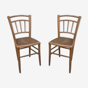 Pair of chairs bistro clear patina