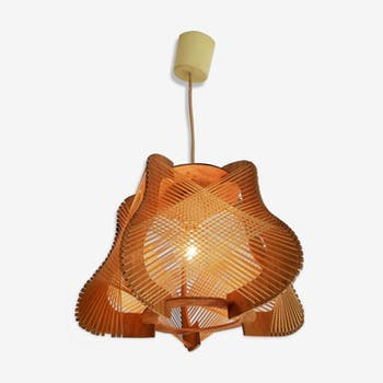 Mid Century Modern Ceiling Lamp Vintage 60s Pendant Wooden Selency