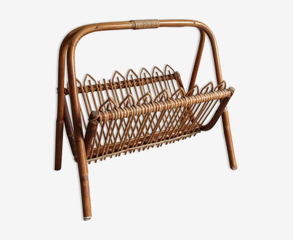 Magazine rack in bamboo and rattan - 60s