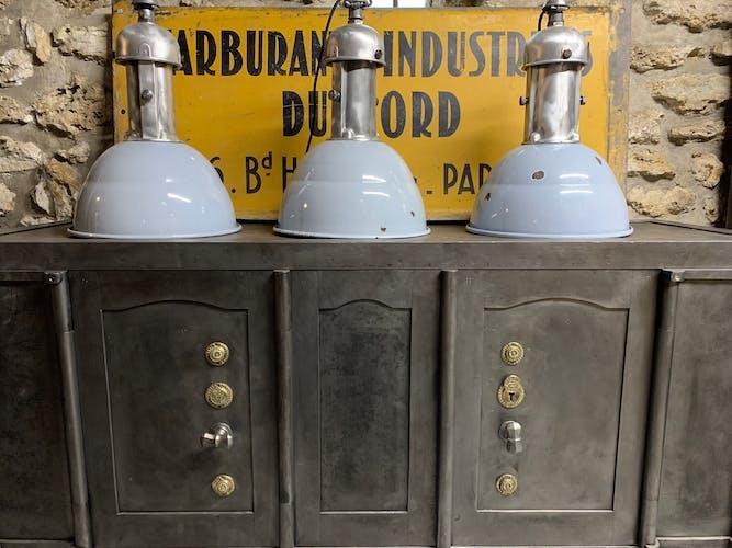 Suspension industrielle émaillé gris bleu 1950