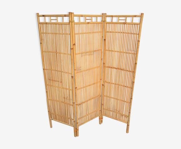 Paravent en bambou à 3 vantaux des années 60