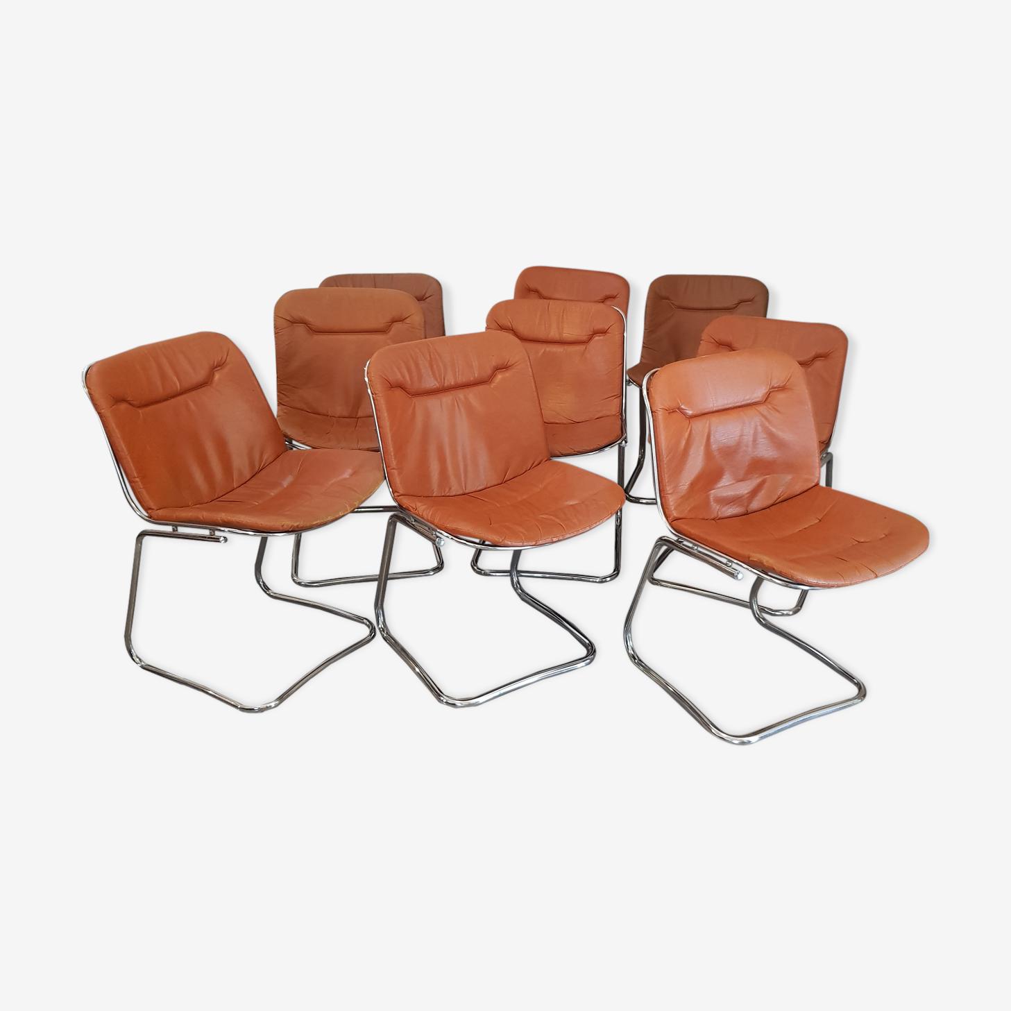 Set de 9 chaises chromé 1970