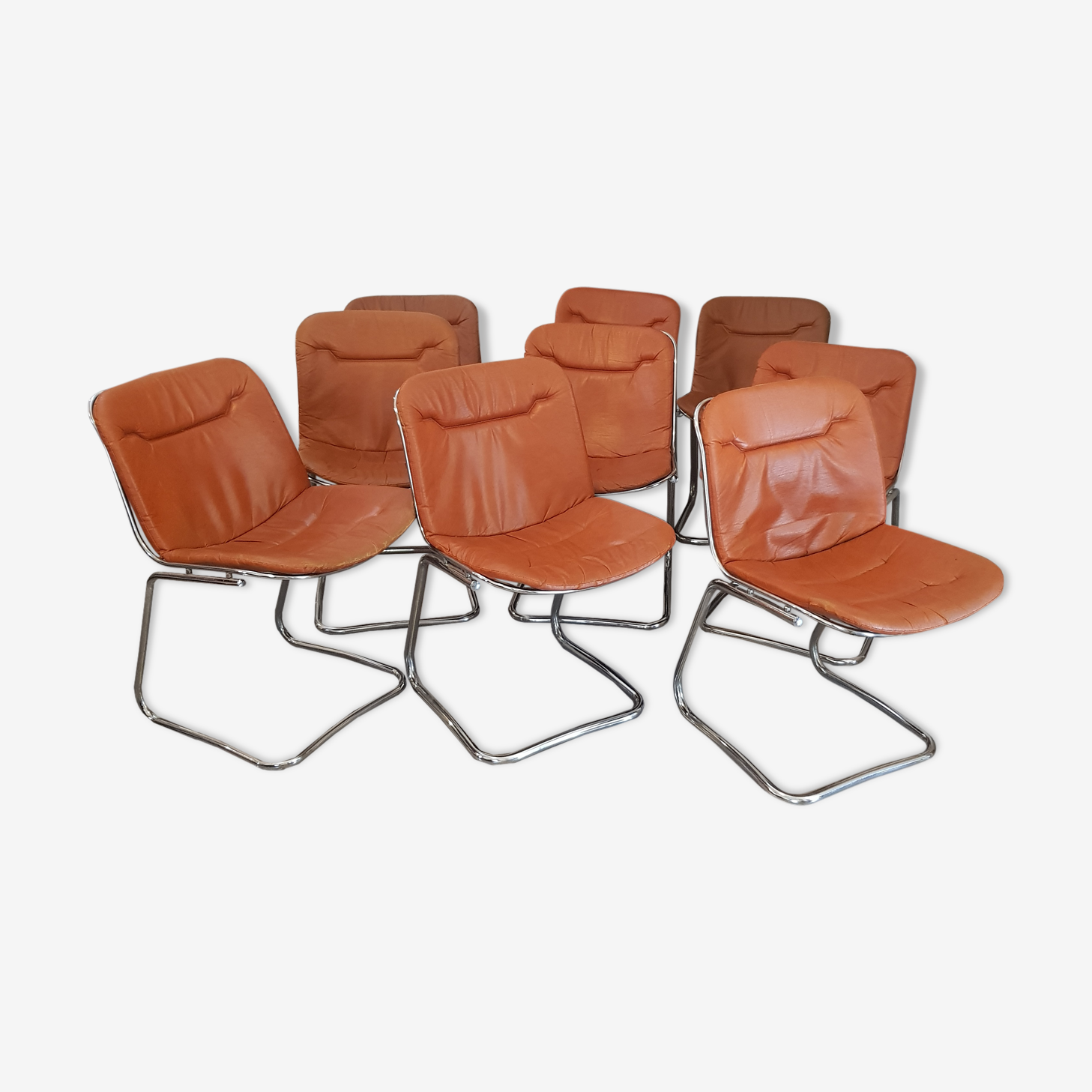 Set of 9 chrome chairs 1970 's