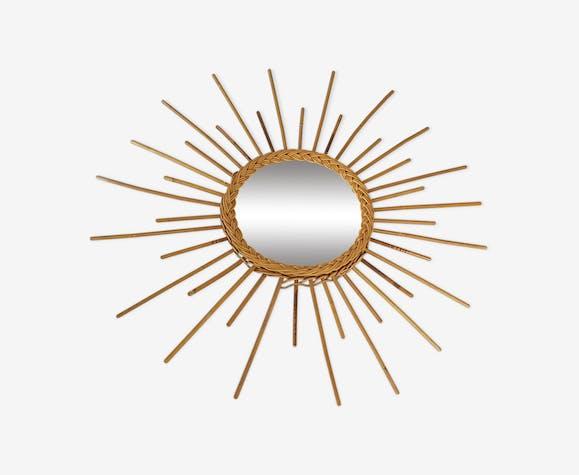 Miroir en rotin forme soleil vintage 66cm