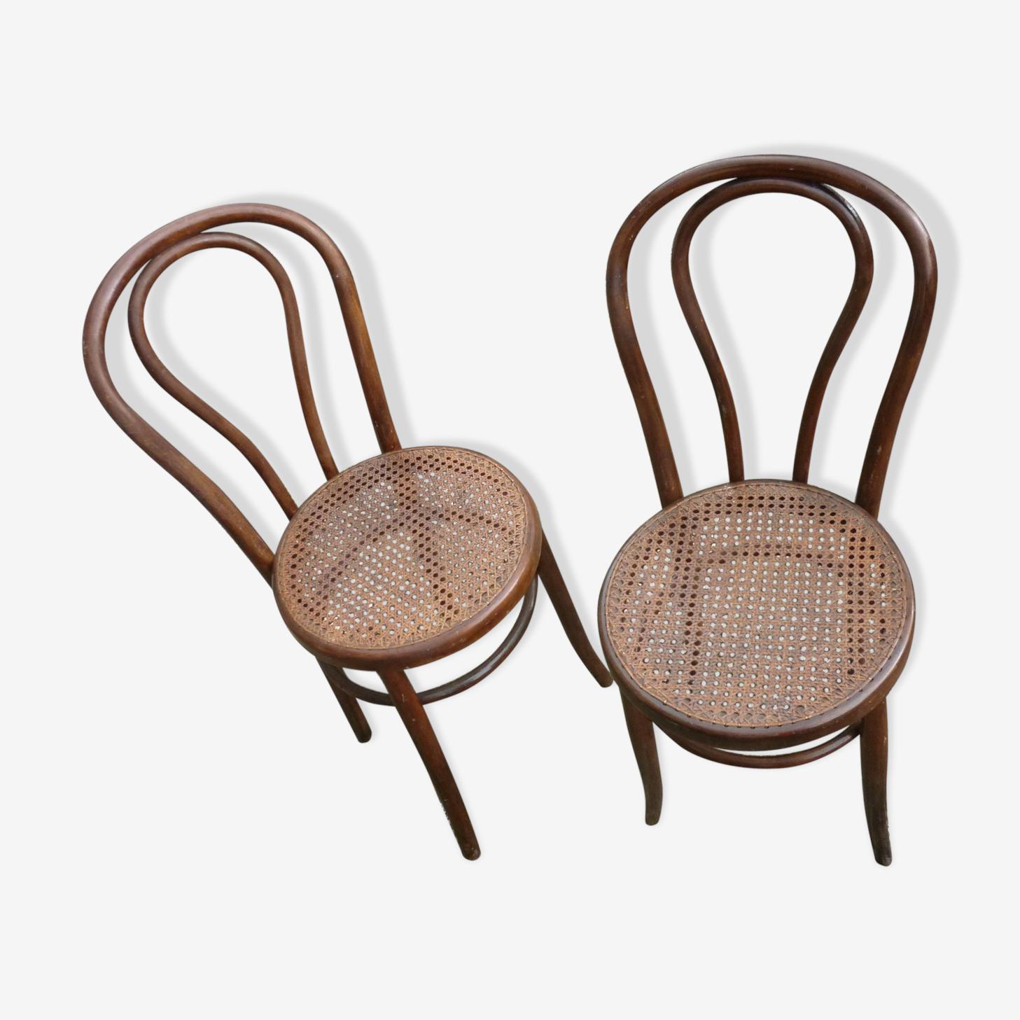 Paire de chaises bistrot en bois courbé
