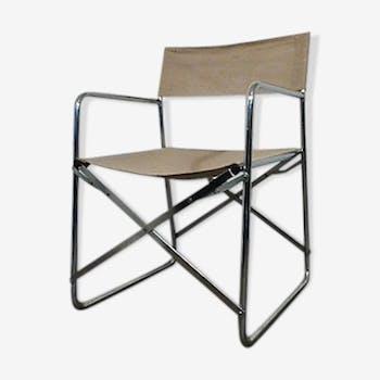 Chaise pliante en lin vintage  1970