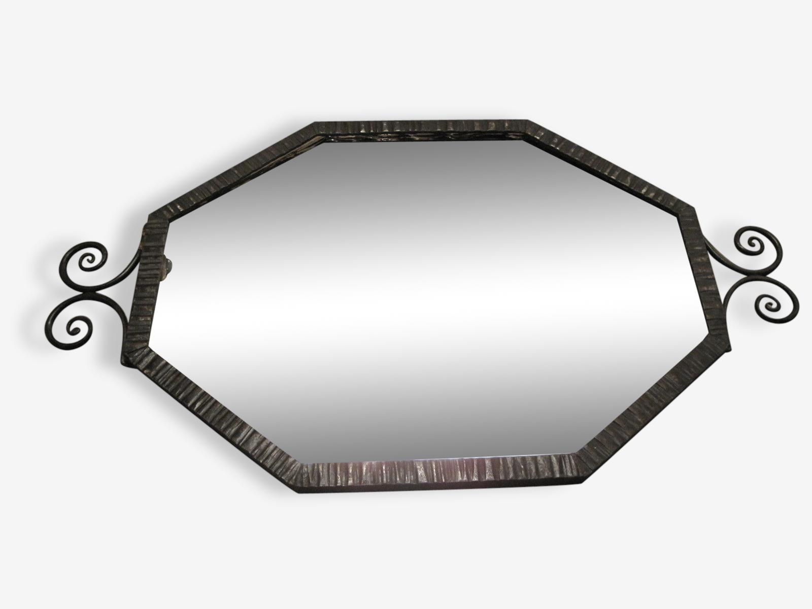 Miroir mural fer forgé martelé noir losange art déco
