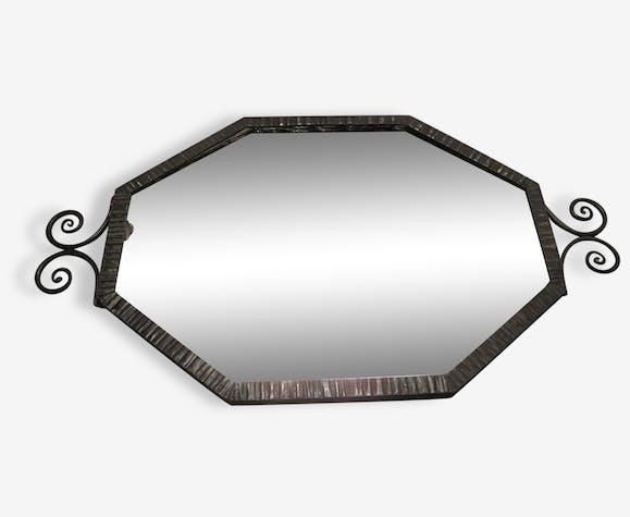 miroir mural fer forg martel noir losange art d co fer. Black Bedroom Furniture Sets. Home Design Ideas