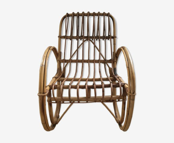 Rocking chair enfant rotin