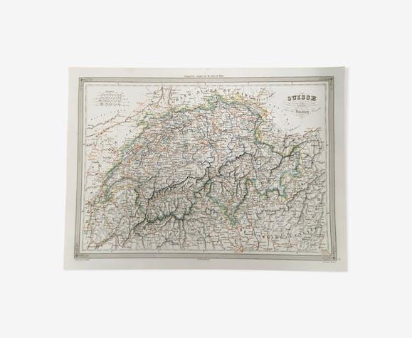 Carte géographique 19ème numérotée Suisse