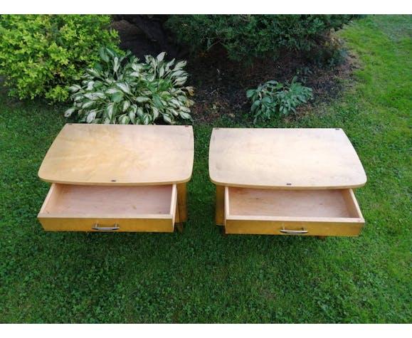Ensemble enfilade vintage et 2 tables de chevet des années 1960