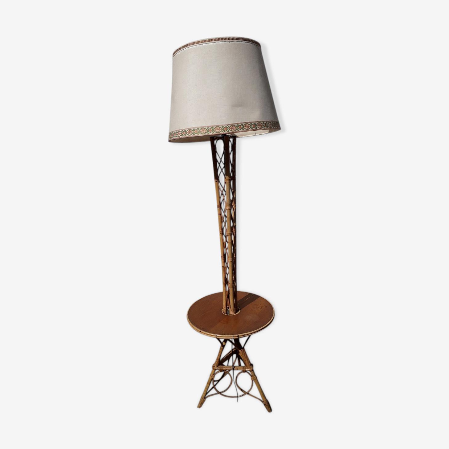 60's rattan floor lamp