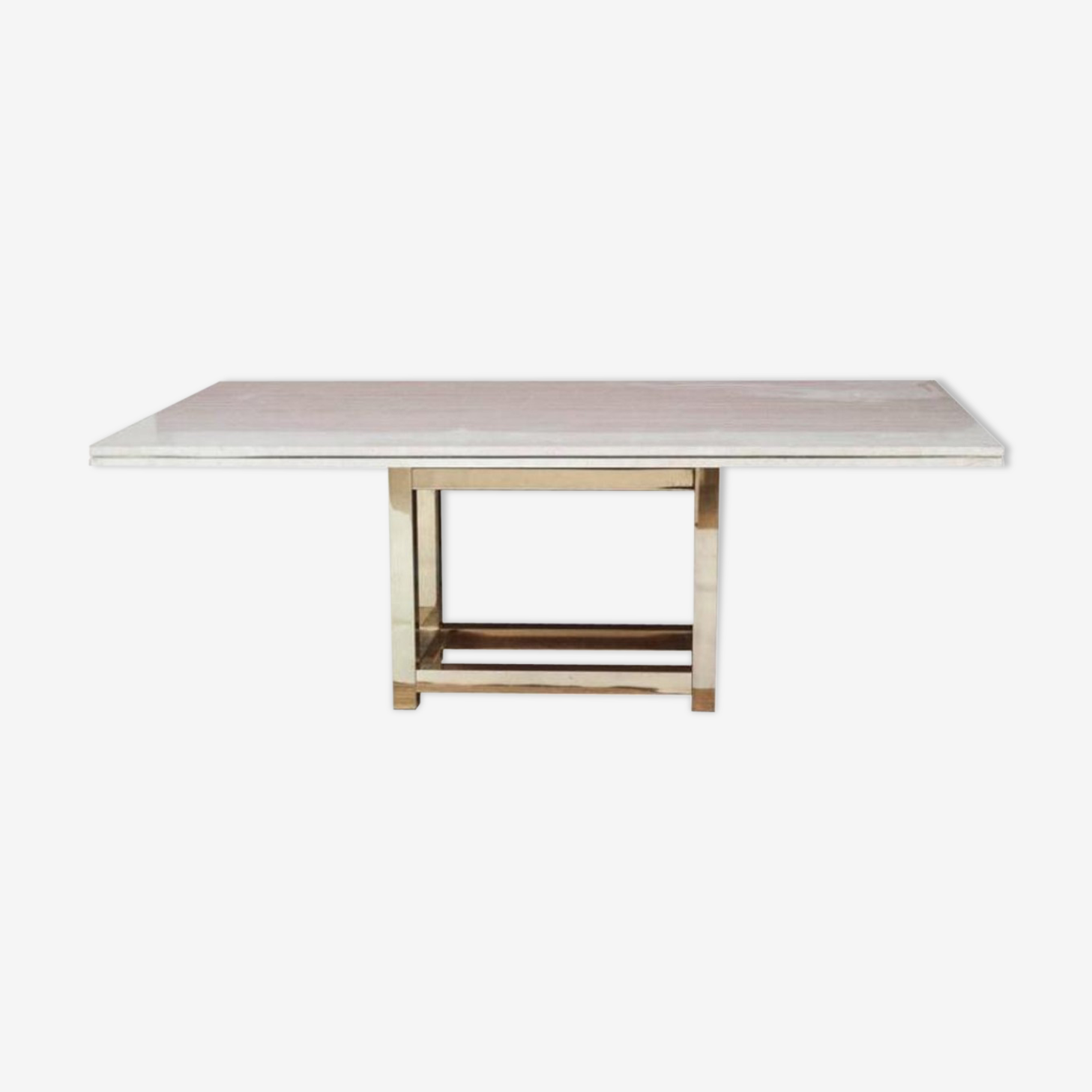 Table dining room vintage brass base with travertine top