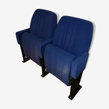 Paire de fauteuils de cinema vintage velours bleu - lot n°2