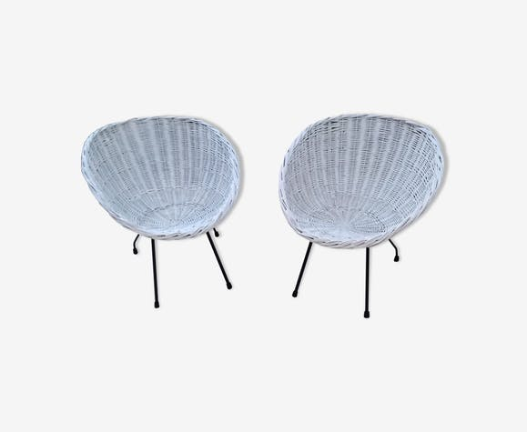 Paire de fauteuils coquille en osier vintage 60