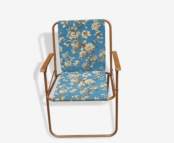 Fauteuil De Camping Vintage En Tissus Bleu Canard Motifs Noirs Et