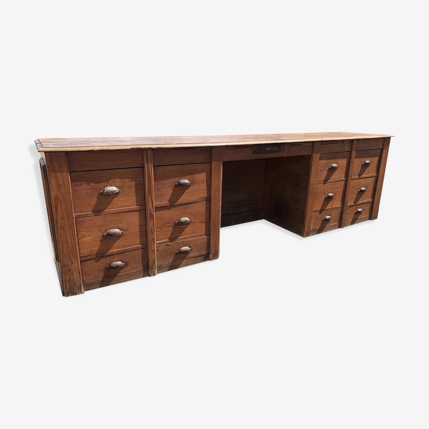 Ancien meuble comptoir de mercerie