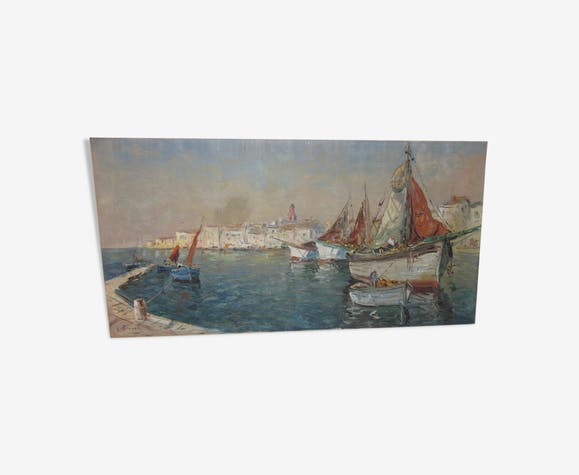 Painting of old sailing scenery