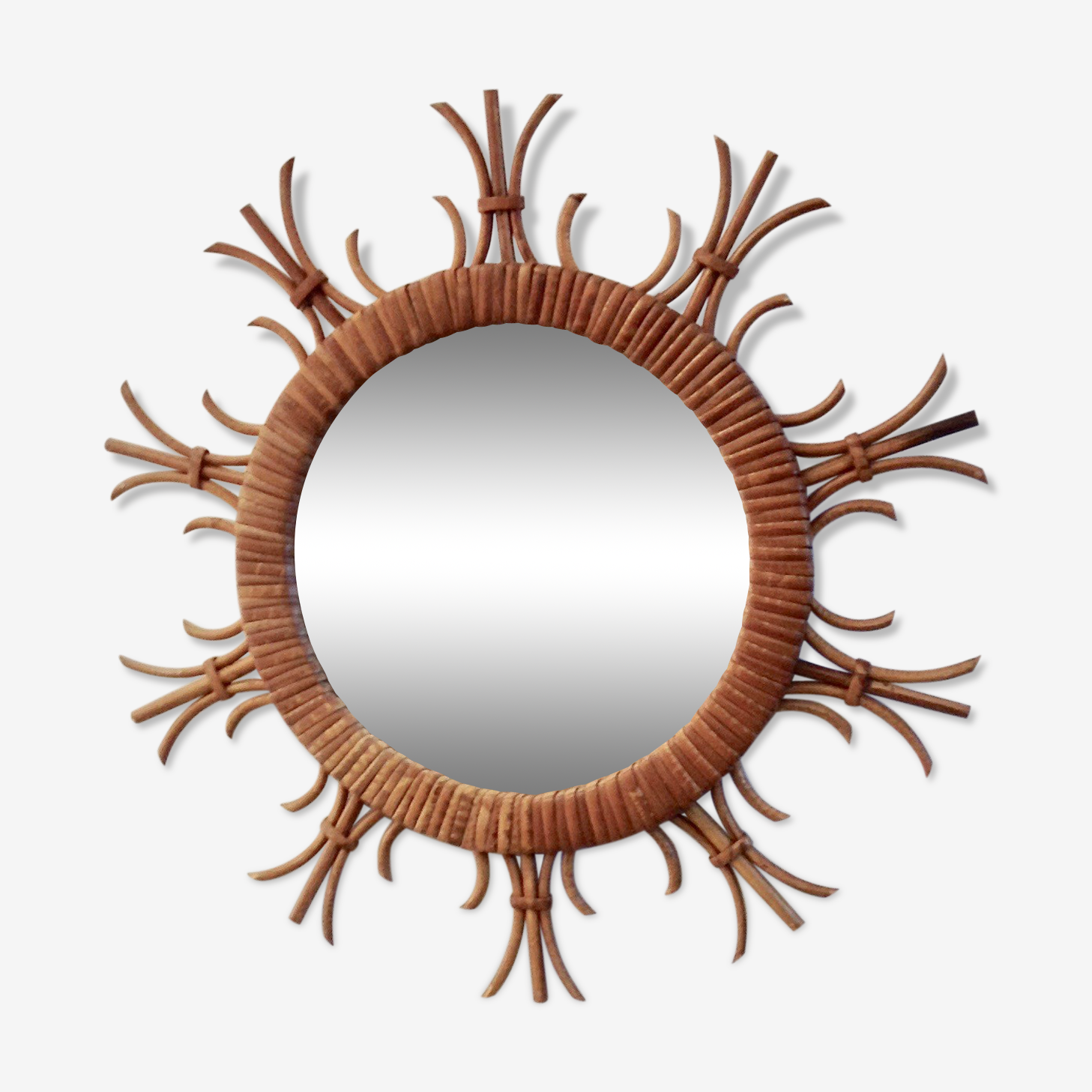 Miroir en rotin vintage 45x45cm