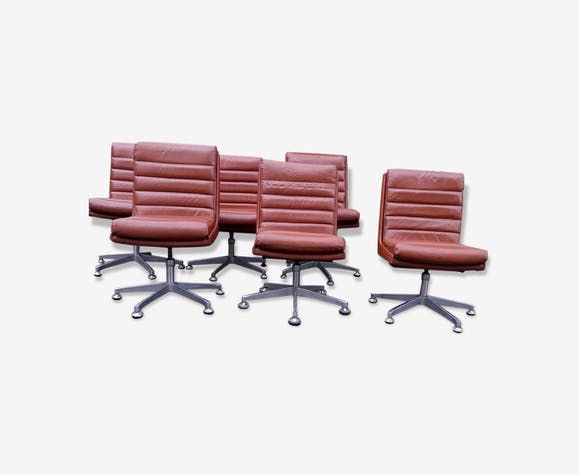 Lot De 6 Chaises Cuir Vintage 60 70s Style Scandinave