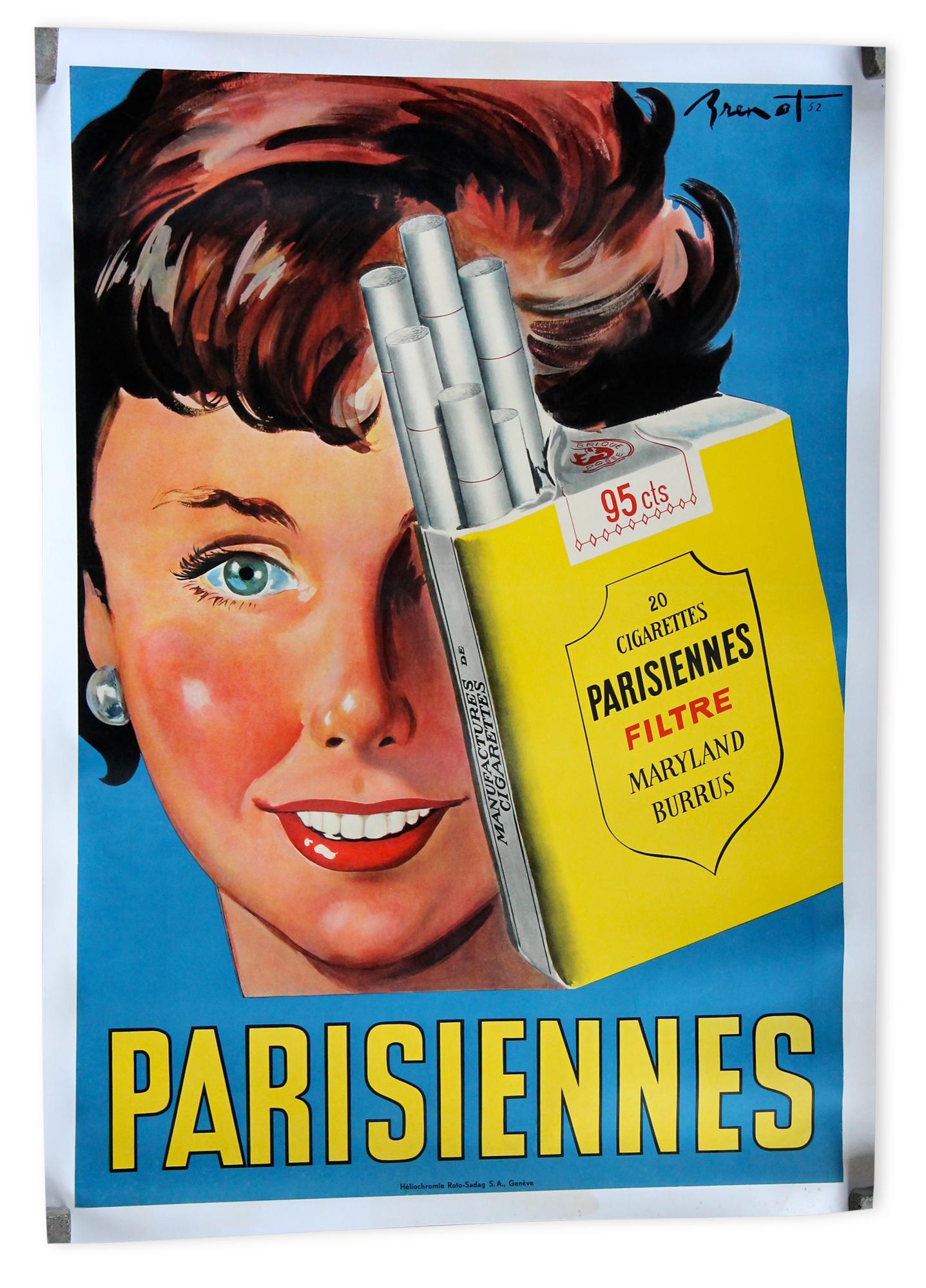 Salle De Bain Bicarbonate Vinaigre ~ Affiche Publicitaire Originale Cigarettes Parisiennes Par Brenot