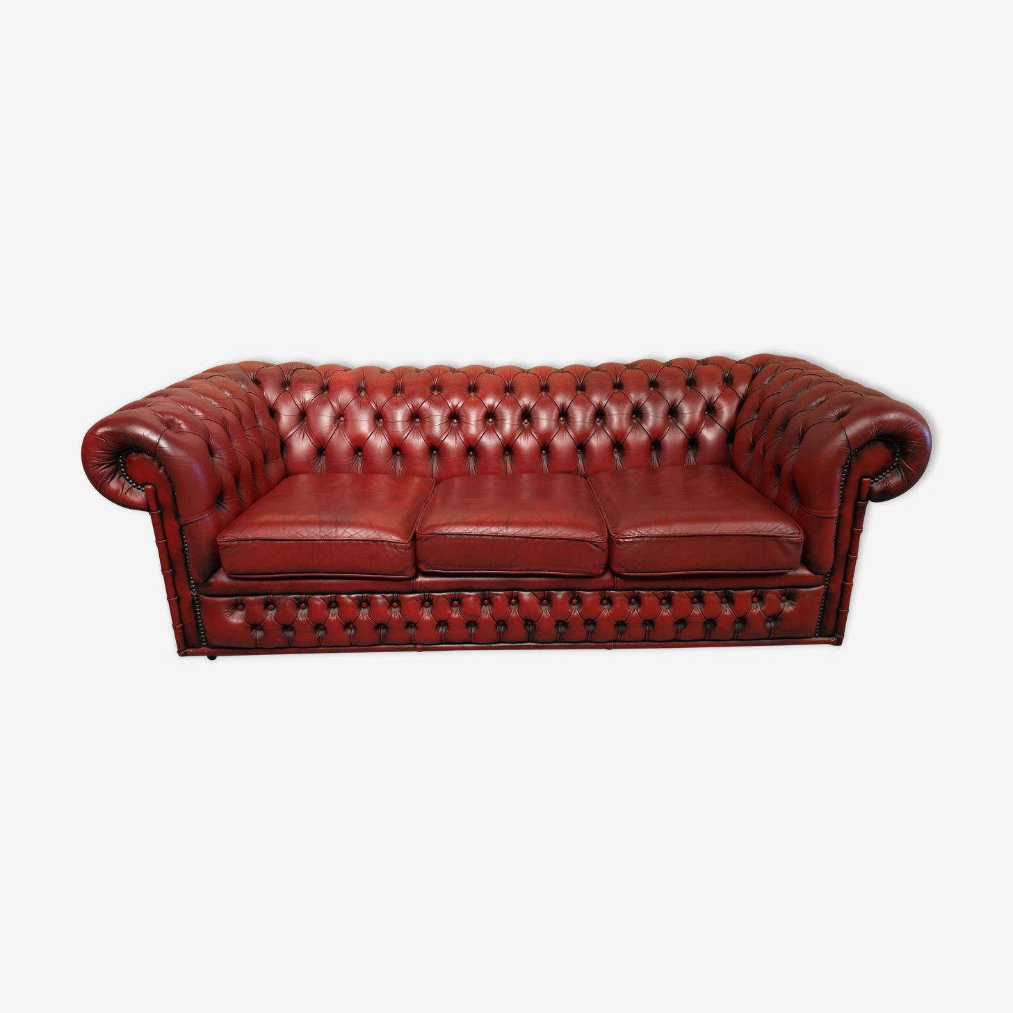 Canapé chesterfield bambou cuir rouge