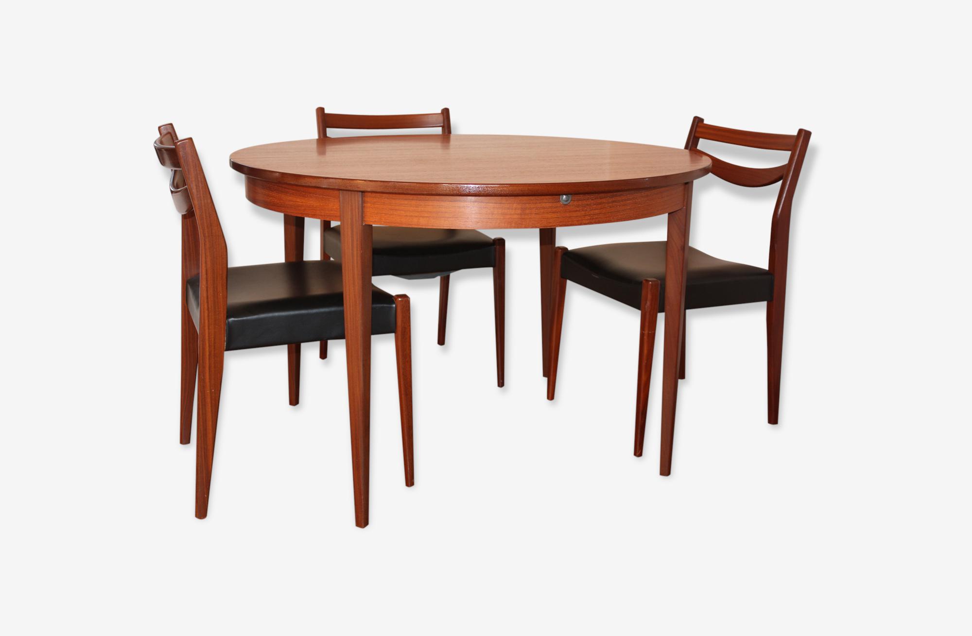 Table ronde teck extensible scandinave