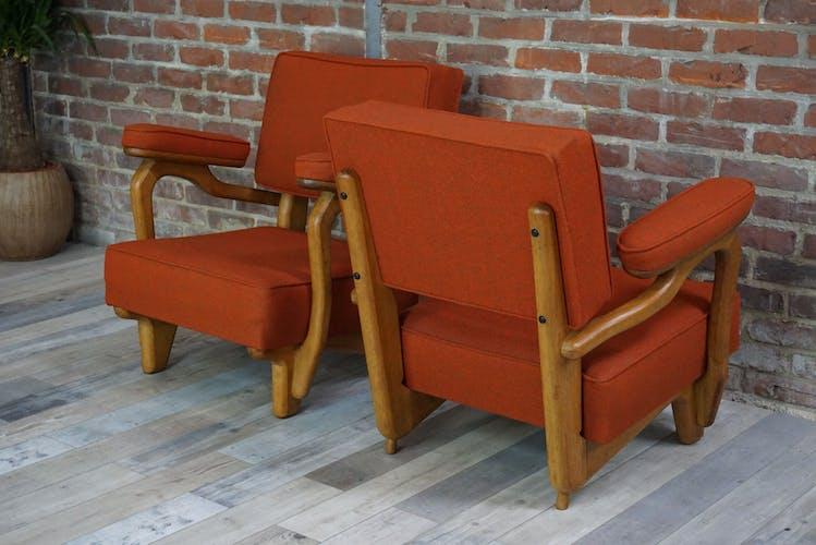 Paire de fauteuils par Guillerme et Chambron 50/60