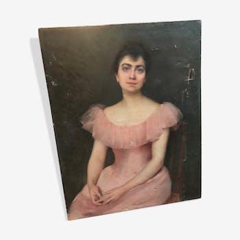 Portait d'une jeune élégante XIXe siècle